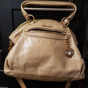 Miu Miu Vitello Beieg Leather Purse
